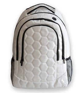 A white soccer backpack w/ black trim made of real soccer ball material.