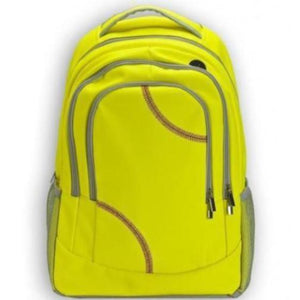 A yellow Softball Sport Backpack made of genuine softball material w/ red stitching.