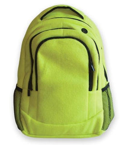 A yellow tennis sport backpack w/ black trim made w/ real tennis ball material.