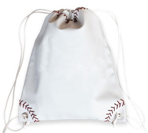 A white baseball drawstring bag made of real Baseball material w/ red Baseball stitching & white drawstrings.