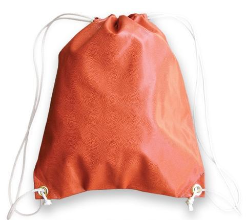 A drawstring basketball bag made of real basketball material & white drawstrings.