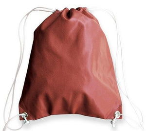A brown football drawstring bag made of real Football leather w/ white drawstrings.