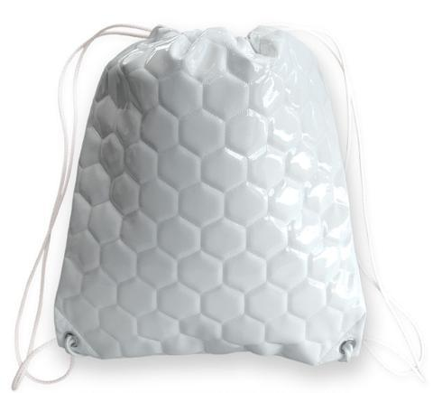 A white soccer drawstring bag made of real soccer material w/ white drawstrings.