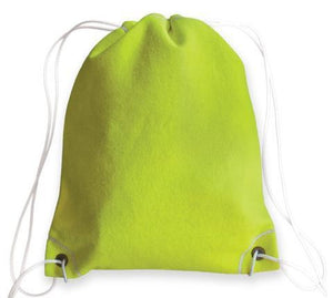 A yellow tennis drawstring bag made of real tennis ball material & white drawstrings.