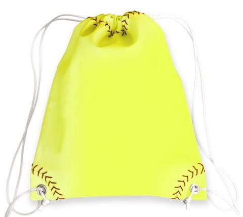 A yellow softball sport drawstring bag made of real softball leather w/ red softball stitching w/ white drawstrings.
