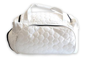 A white soccer Duffle bag w/ padded shoulder strap made of real soccer ball material.