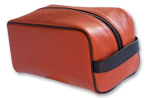 A basketball dopp kit/ Toiletry bag w/ black trim made w/ real Basketball material.