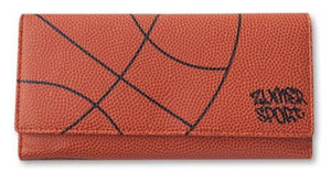 A basketball women's bifold wallet made w/ real Basketball material.