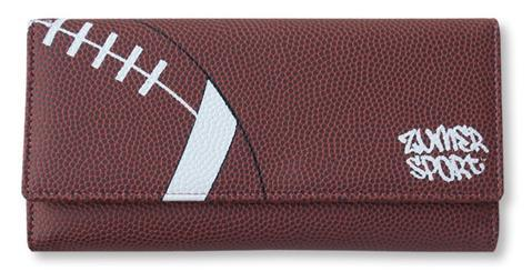 A women's brown bifold snap football wallet made of real Football leather.