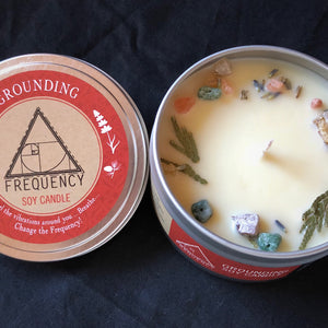 Grounding Soy Candle - Crystal Infused