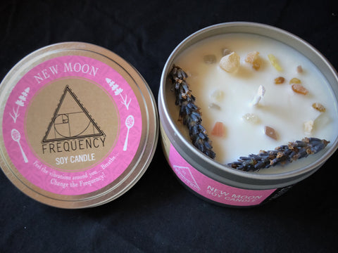 New Moon Soy Candle - Crystal Infused