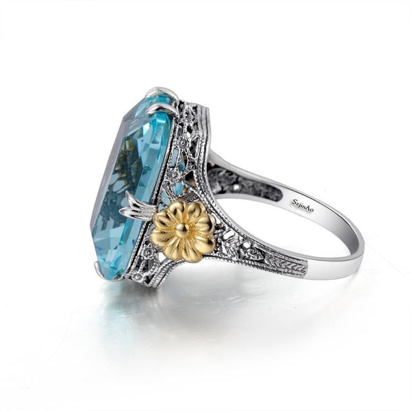 Blue Sea Crystal Princess Sterling Silver With Gold Flower Ring