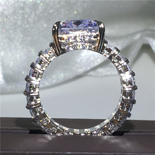 Beautiful Sparkling Princess Cut Sterling Silver Ring