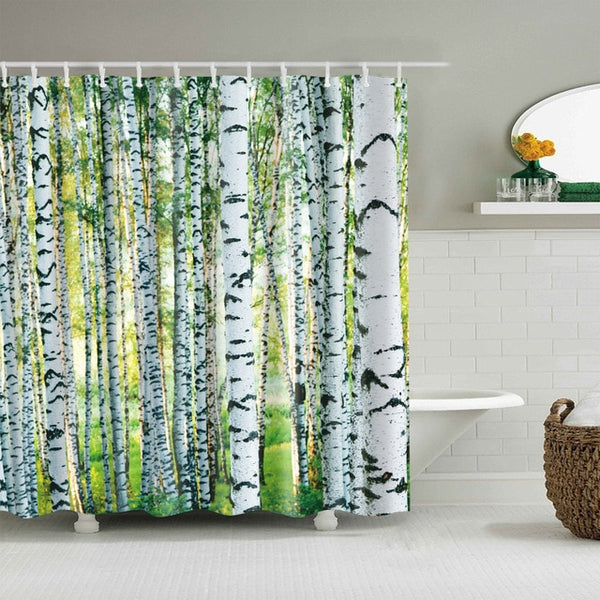 3D Forest Print Shower Curtains