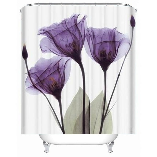 LANGRIA 4pc Bathroom Shower Curtain Flower Print Set