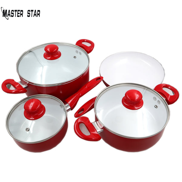 Master Star White Ceramic Coated 7 Pc Cookware Set