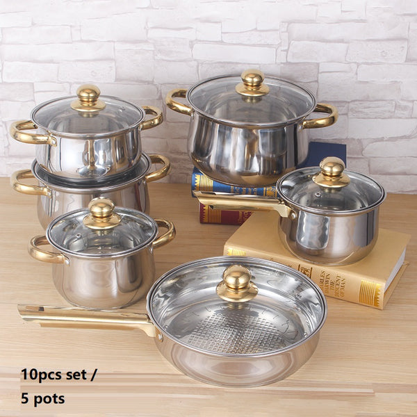 10 Pc Cookware Set Stainless Steel/ Gold