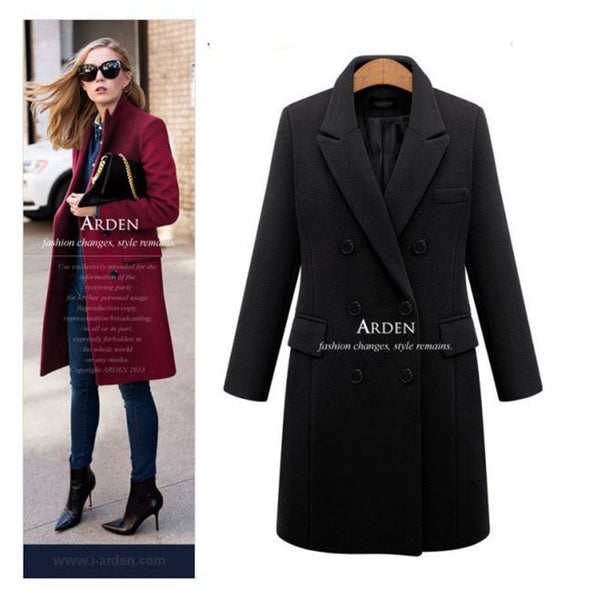 Women's Long Elegant Double Breasted Winter Coat