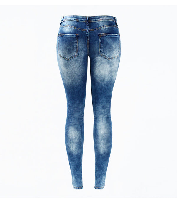 Women`s Washed Stretch Ripped Denim Jeans