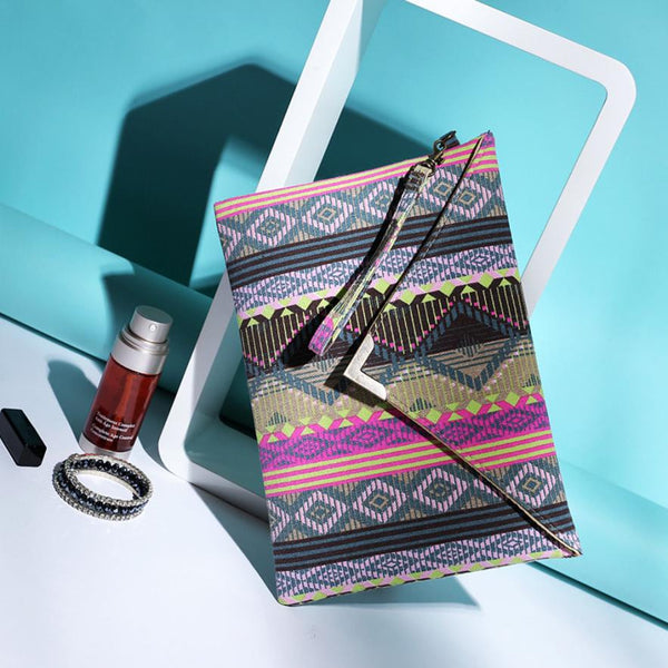 Elegant Multicolored  Envelope Clutch Purse