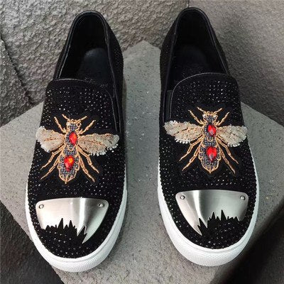 Men's European Genuine  Leather Embroidered Studded Casual Shoes