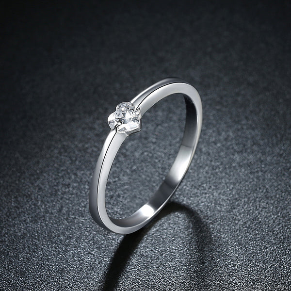 Beautiful Sterling Silver  Inlaid Heart Ring