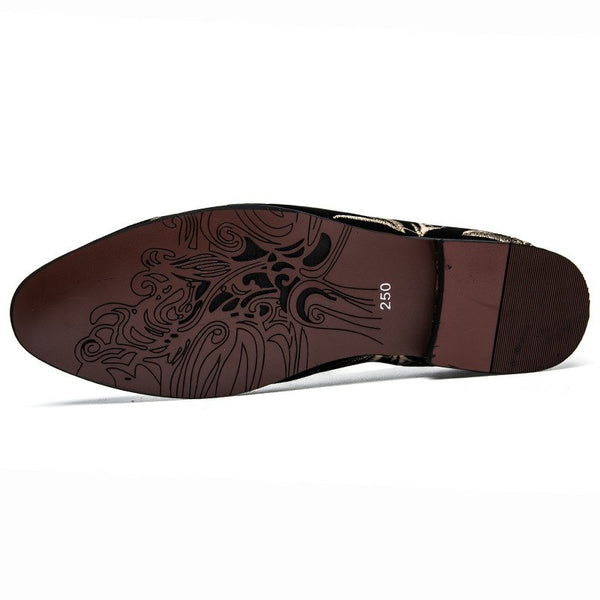 Italian Design Men's  Embroidery Flower Loafer