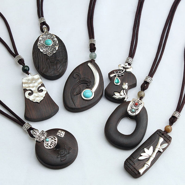 WEIYU Vintage Nepal Handmade Black Sandalwood Necklaces