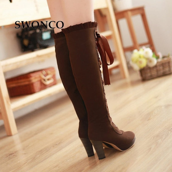 Women's Lace Up Knee-high Boots