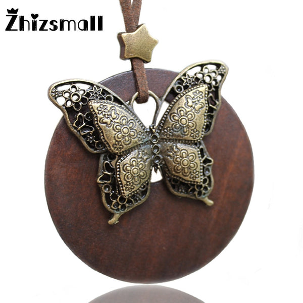 Vintage Wooden Butterfly Necklaces