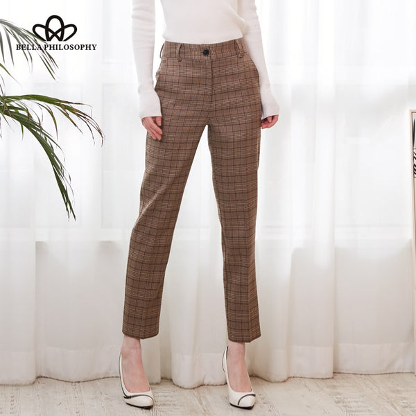 Women'  Casual High Waist Plaid Print Pants