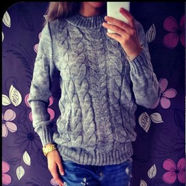 Women's Solid Color O-Neck Long Sleeve Knitted Sweater