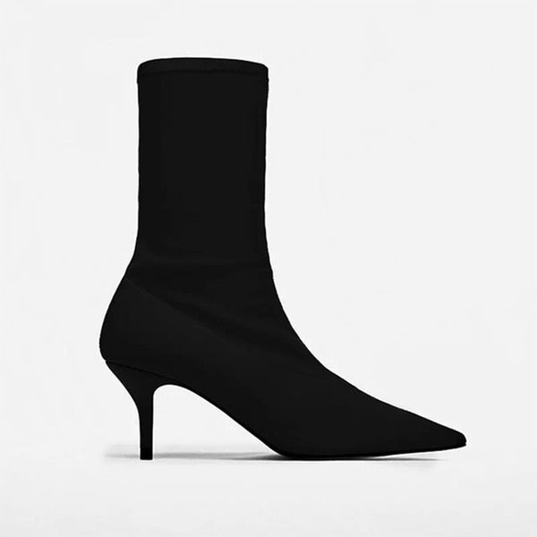 Women's Stretch Fabric Low Heel Boots