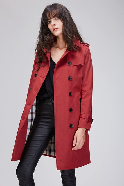 Women's  Classic Double Breasted Trench Coat Waterproof