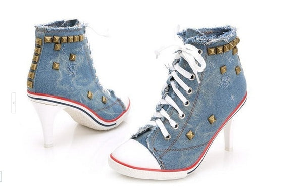 Women's Denim High Heels Lace Up Sneakers