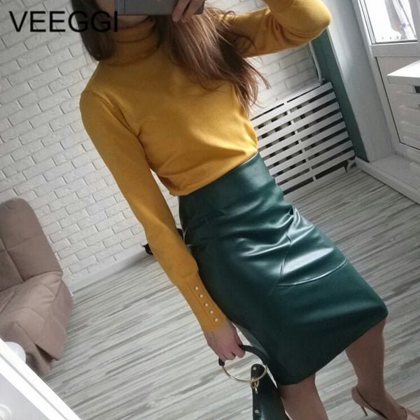 VEEGGI Elegant High Waist Faux Leather S-2XL