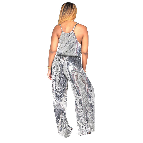 Women's Sparkling Sequin Wide Leg Jumpsuit