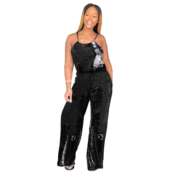 Women's Solid Sparkling Sequin Wide Leg Jumpsuit