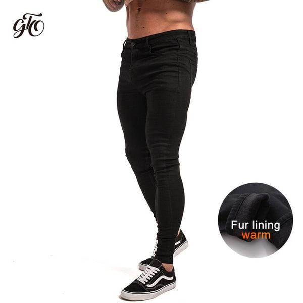 Men's  Skinny Jeans Black Distressed Denim Stretch Jeans