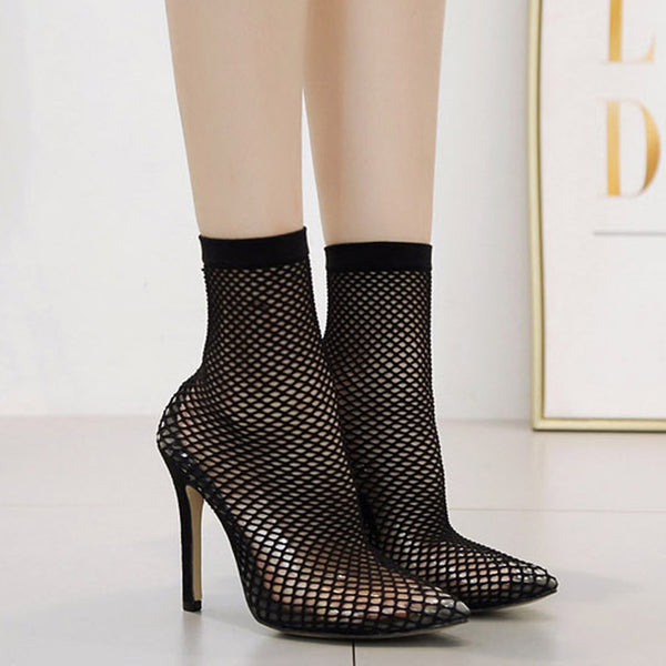 Women's Black Mesh Sock Boots