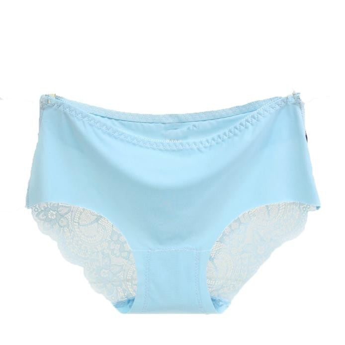 Women lace Panties Seamless Cotton Panty Hollow briefs Underwear White/S