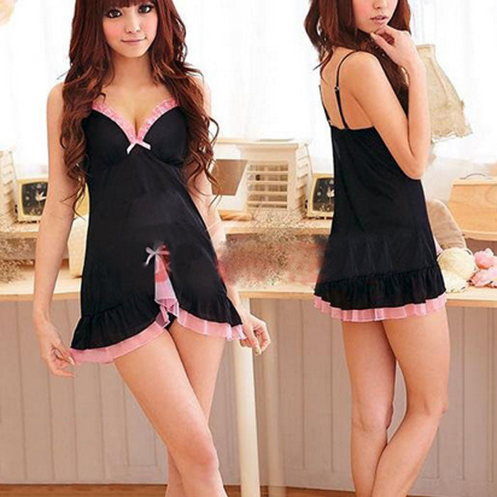 Women Sexy Babydoll Chemise Dress Lingerie Racy Sleepwear Dress+Thongs