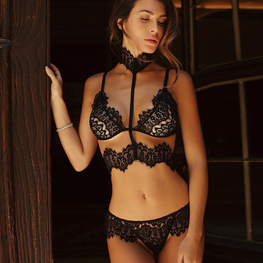 Women Black Floral Lace Halter Bandage Push Up Bra+Pants Underwear Set