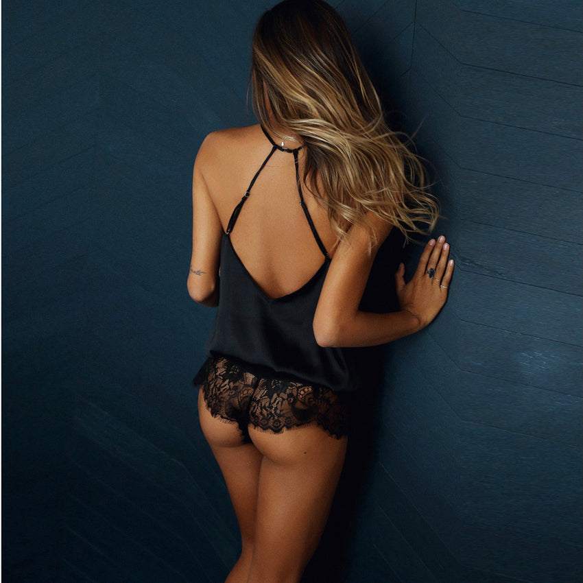 Women Sleeveless V Neck Sexy Lace Sleepwear Lingeries Clubwear Jumpsuit
