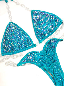 Jewell Teal Heavy Scatter Competition Bikini