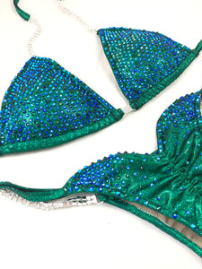 Jewell Emerald & Sapphire Heavy Waterfall Competition Bikini