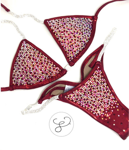 Jewell Burgundy Pro Scatter Competition Bikini