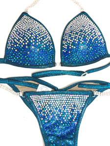 Jewell Turquoise Heavy Waterfall Competition Bikini