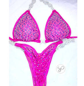 Jewell Hot Pink with Aqua Heavy Scatter Competition Bikini