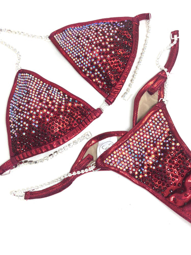Jewell Burgundy Heavy Waterfall Competition Bikini